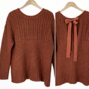 AERIE Chunky Sweater with Open Back & Ribbon Tie M